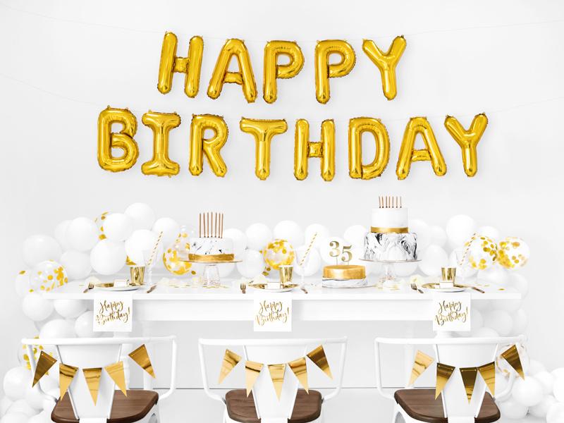 PD Foil Balloon Happy Birthday, 340x35cm, gold