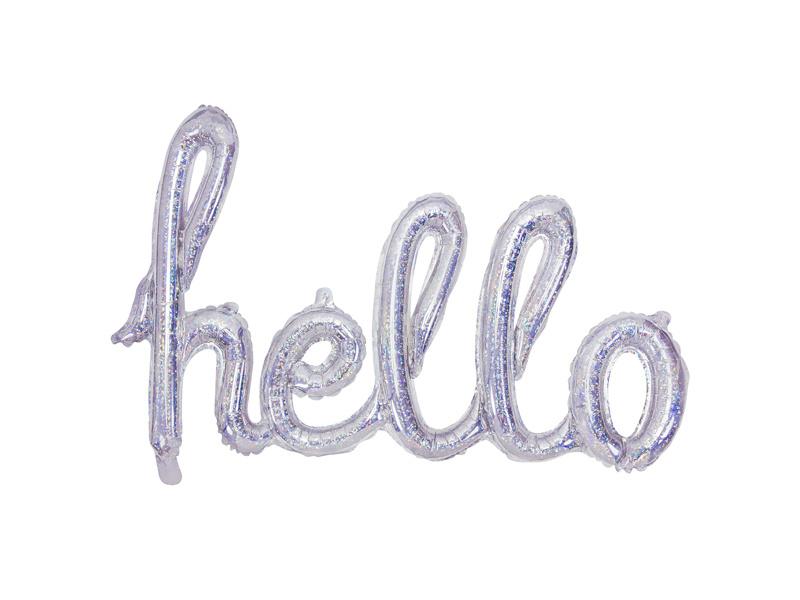 PD Foil Balloon Hello, 72x45cm, holographic