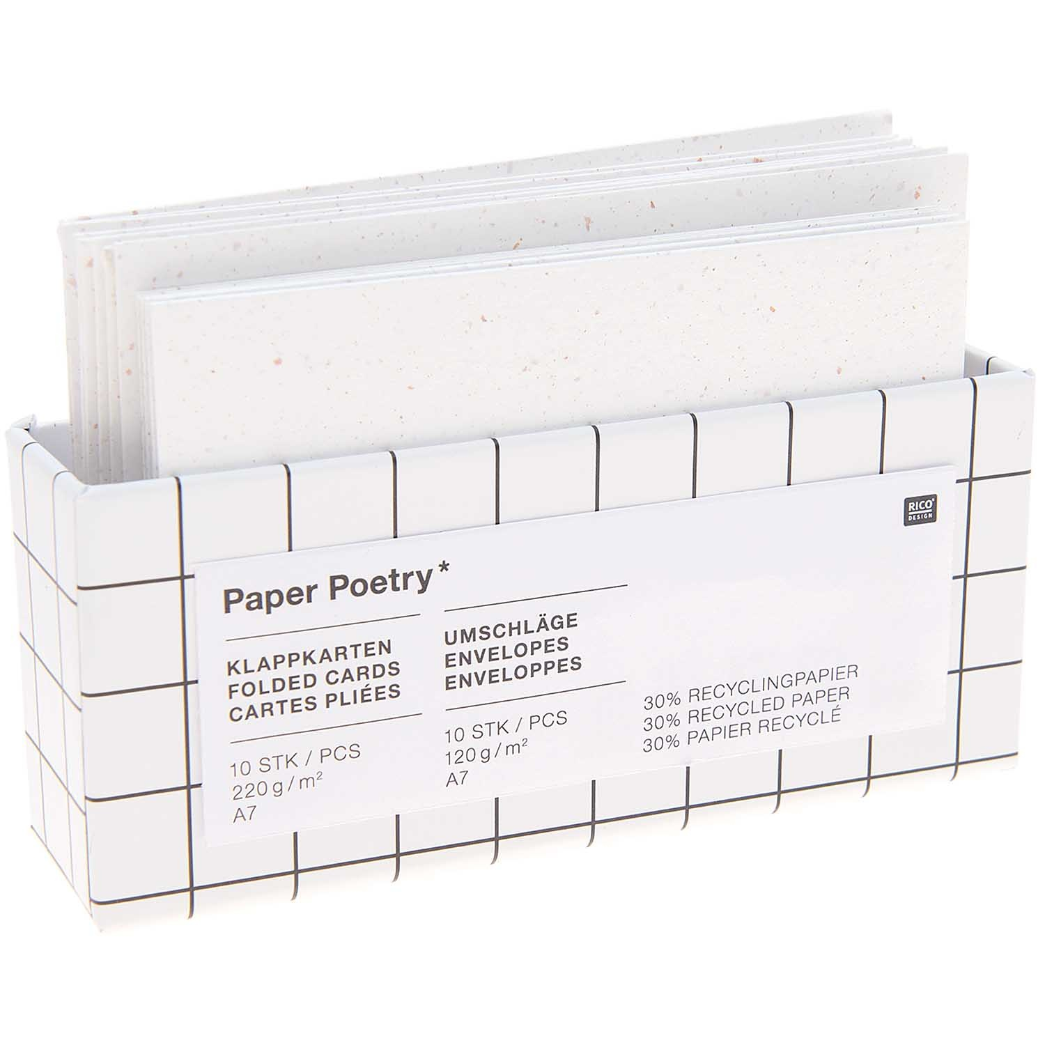 Rico NAY Card set C7/A7, recycled paper offwhite, , 10 cards, 10 envelopesFSC MIX