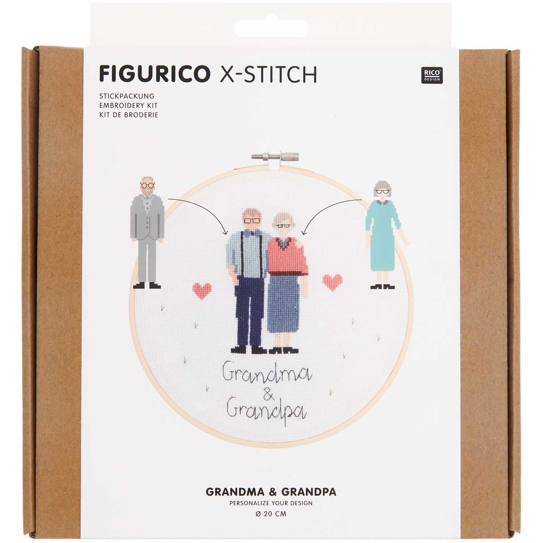 Rico NAY Embroidery kit Figurico Grandma & Grandpa , picture Ø 20 cm, counted cross stitch
