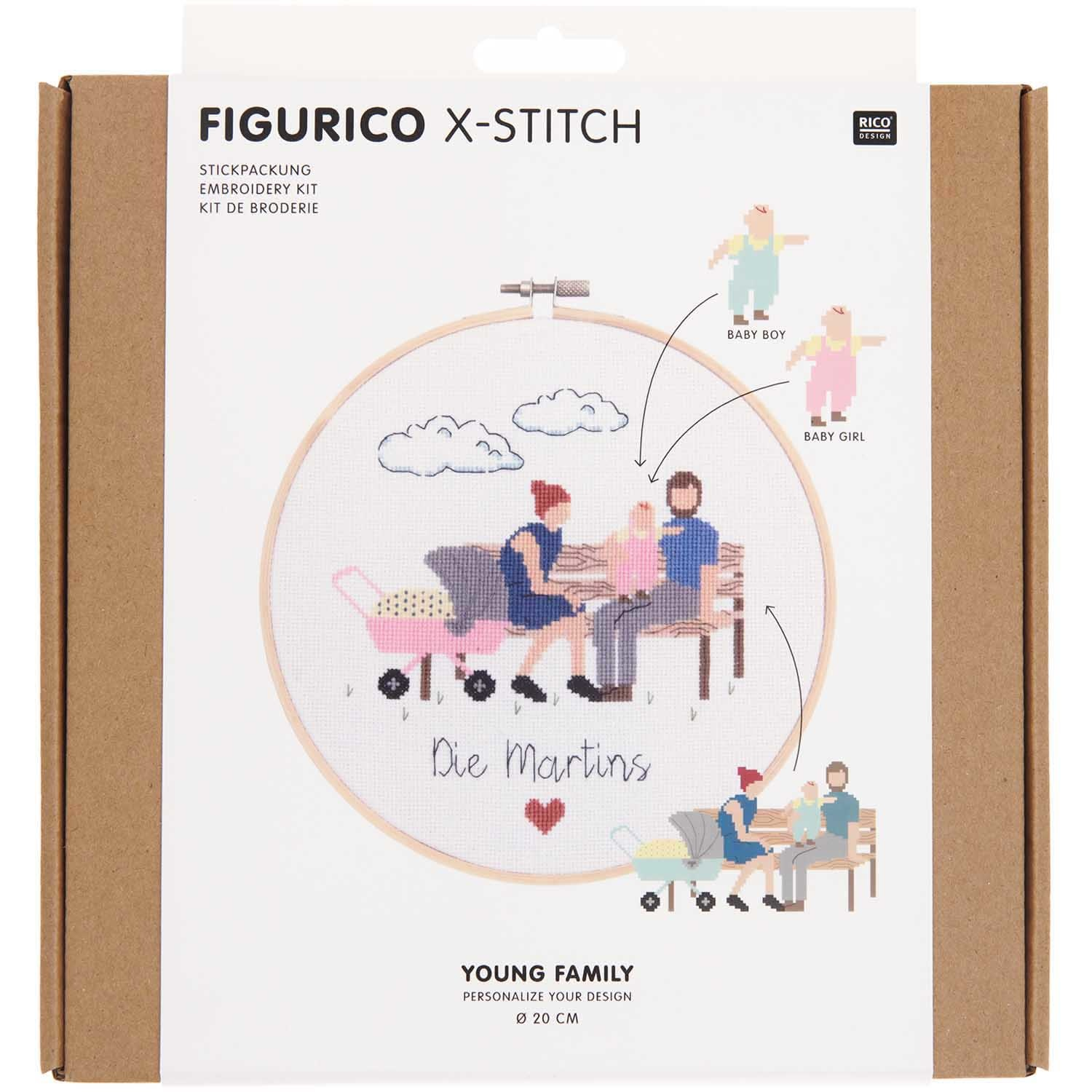 Rico NAY Embroidery kit Figurico Young Family, picture Ø 20 cm, counted cross stitch