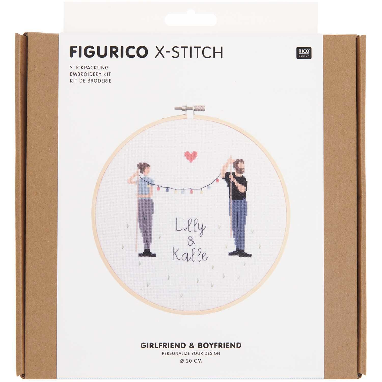 Rico NAY Embroidery kit Figurico Girlfriend & Boyfriend, picture Ø 20 cm, counted cross stitch