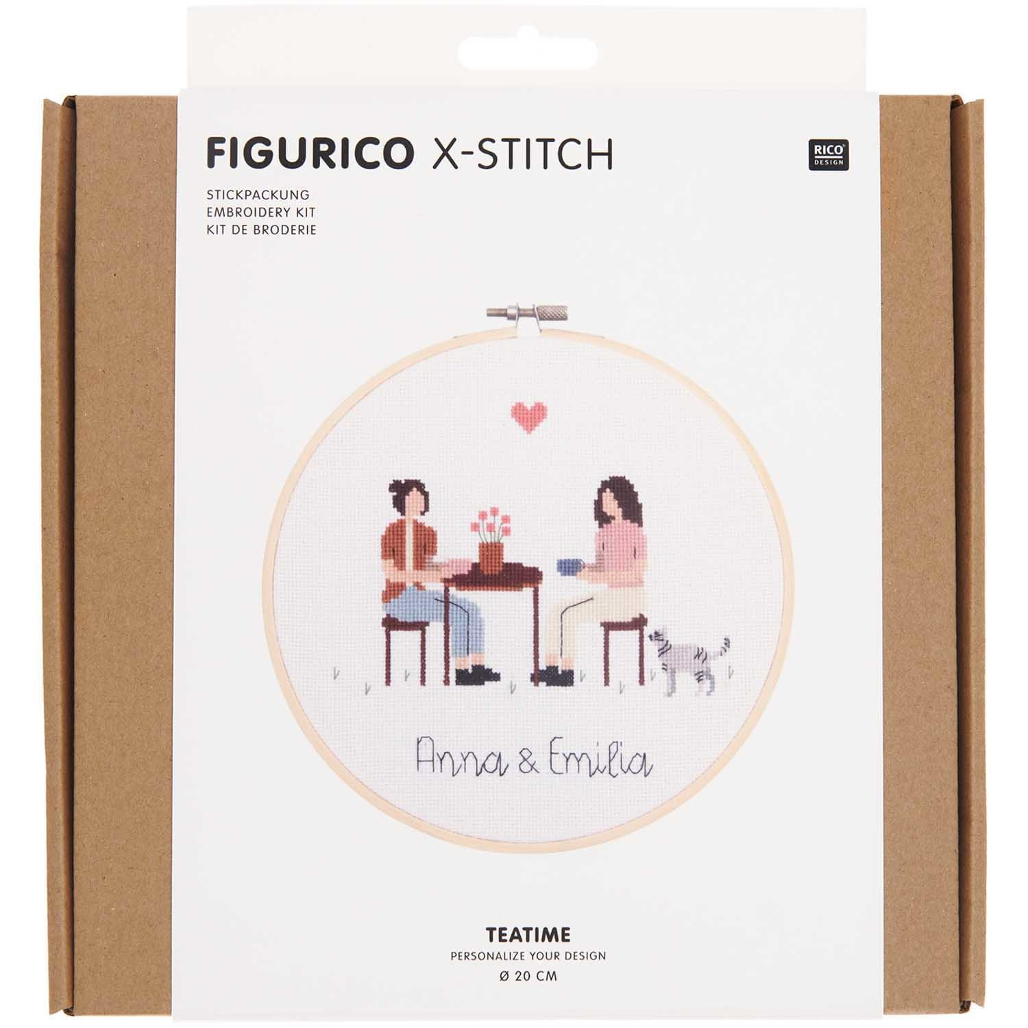 Rico NAY Embroidery kit Figurico Teatime, picture Ø 20 cm, counted cross stitch