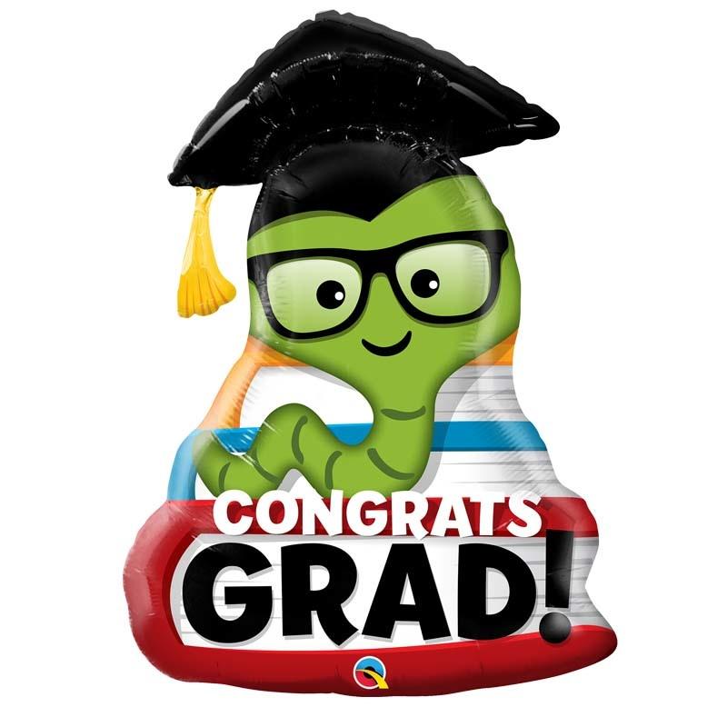 SMP congrats grad bookworm foil balloon 93 cm