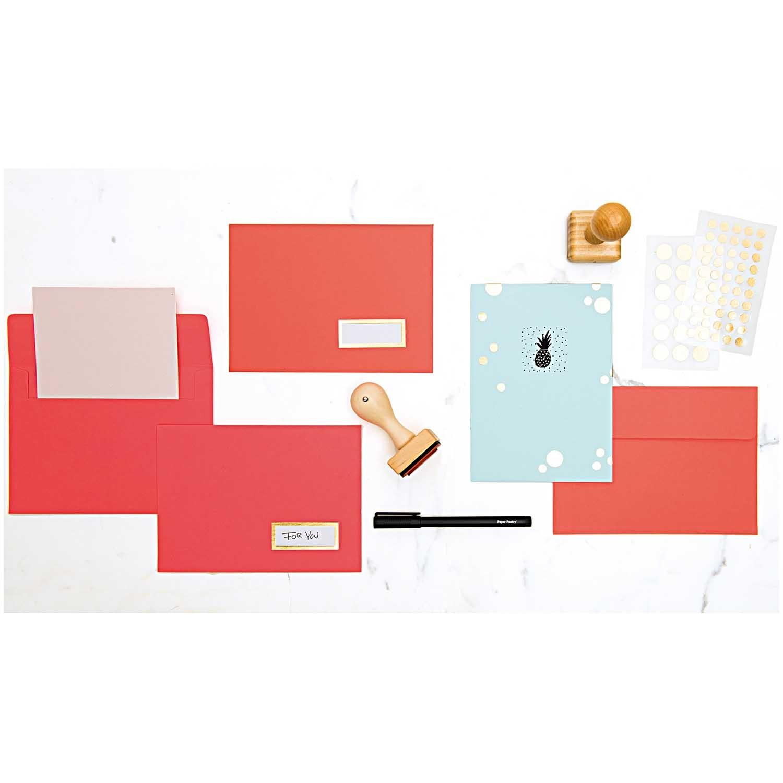 Rico NAY CARDS & ENVELOPES, NEON RED/ROSE 30 CARDS/ 15 ENVELOPESFSC MIX