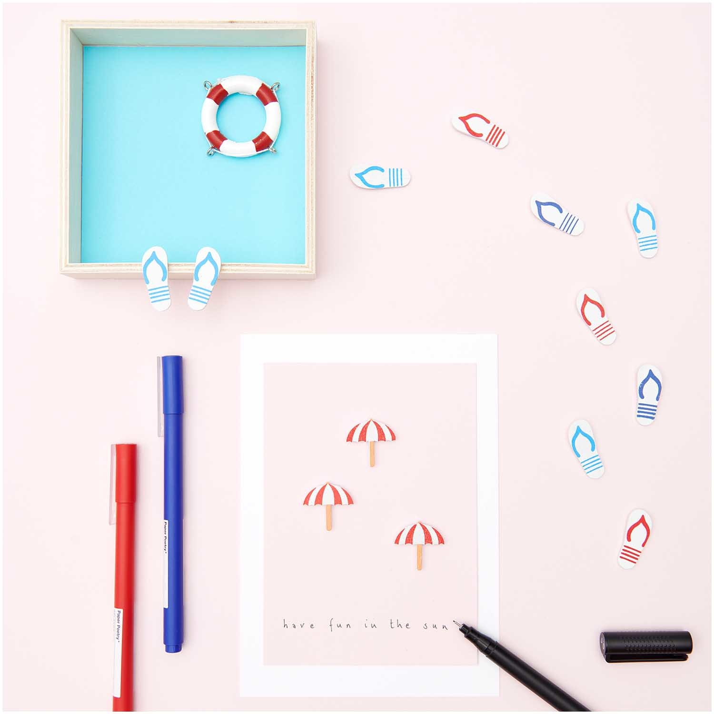 Rico NAY Deco-sticker flip-flops, red-white, blue-white, wood, 24 pcs