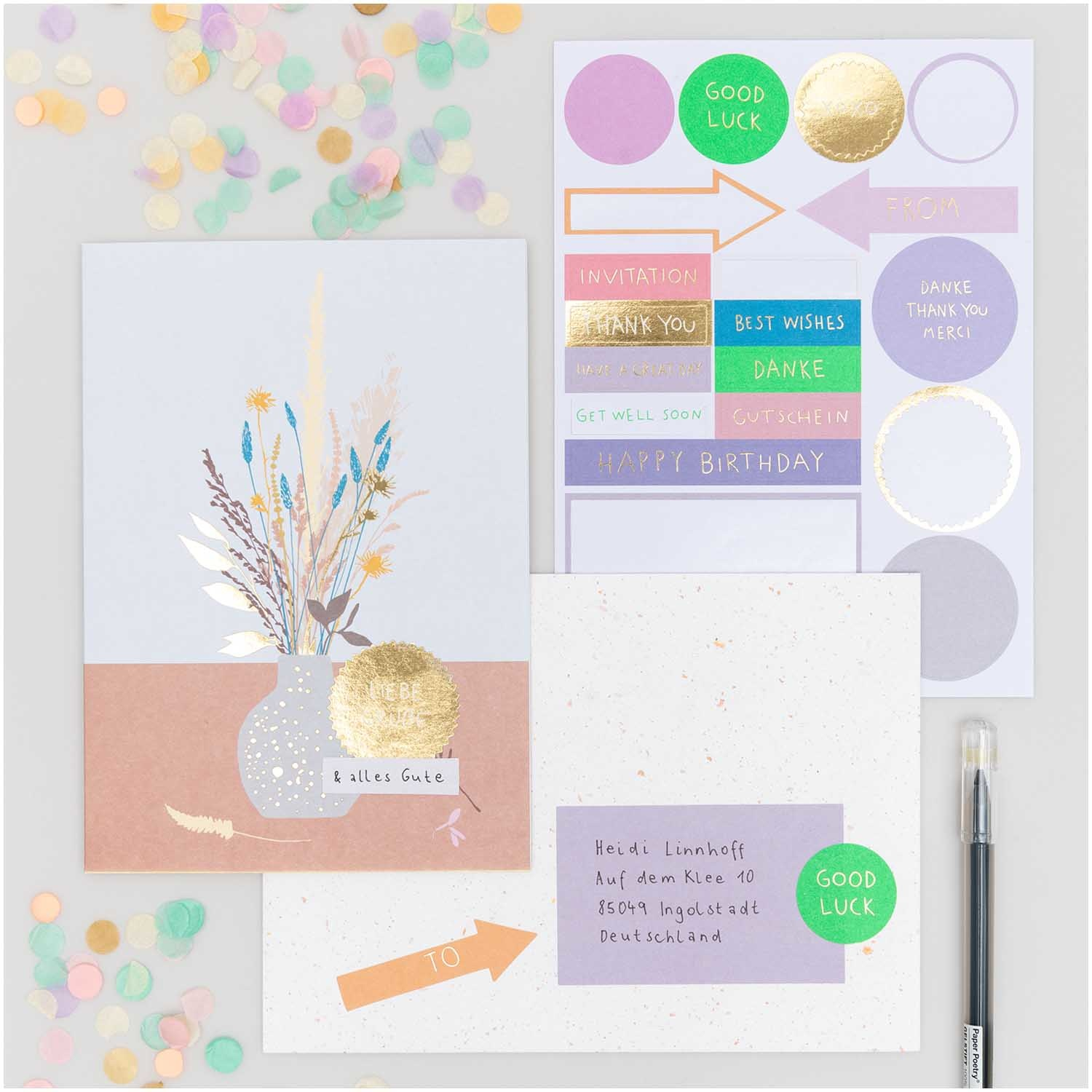 Rico NAY DIY Card Transformation, vase with flowers, blue (Card, envelope, confetti, stickers)