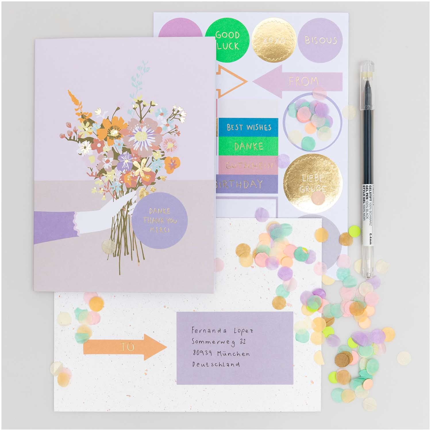 Rico NAY DIY Card Transformation, flower bouquet (Card, envelope, confetti, stickers)