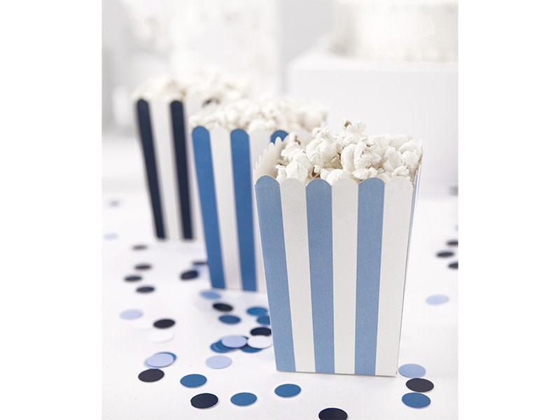 PD Decorative boxes for popcorn - blue mix, 7.5 x 7.5 x 12.5 cm