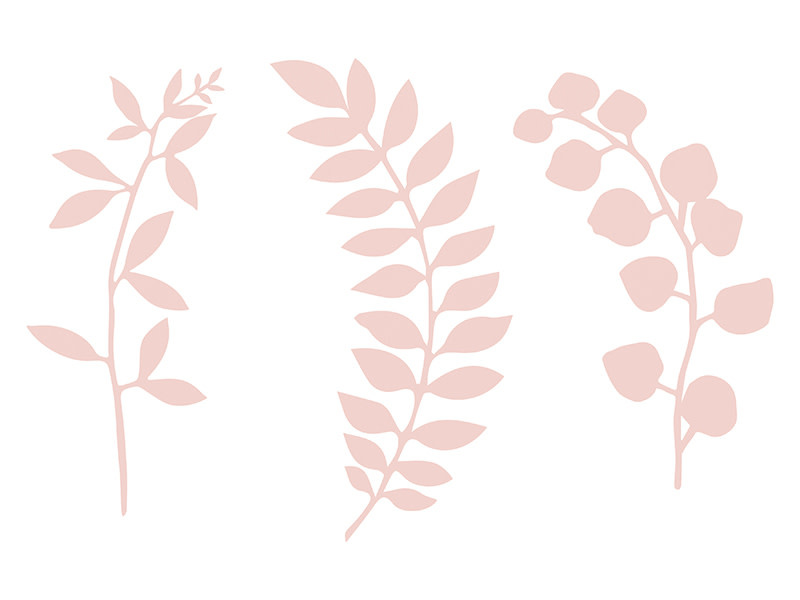 PD Branch with leaves decoration, powder pink