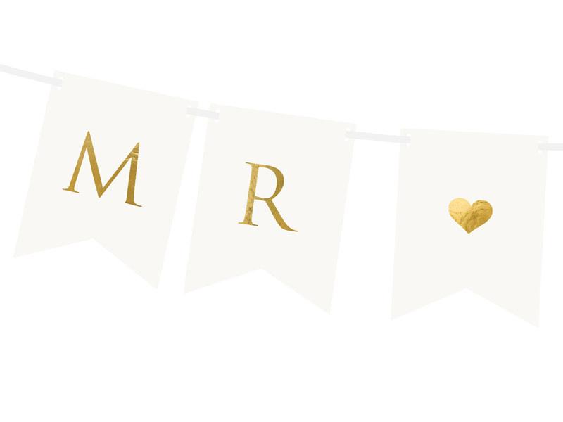 PD Banner Mr Mrs, white, 15 x 85 cm