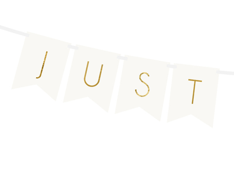 PD Banner Just Married, white, 15 x 155 cm
