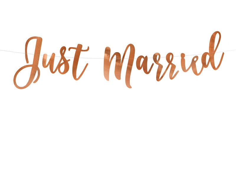 PD Banner Just Married, rose gold, 20x77cm
