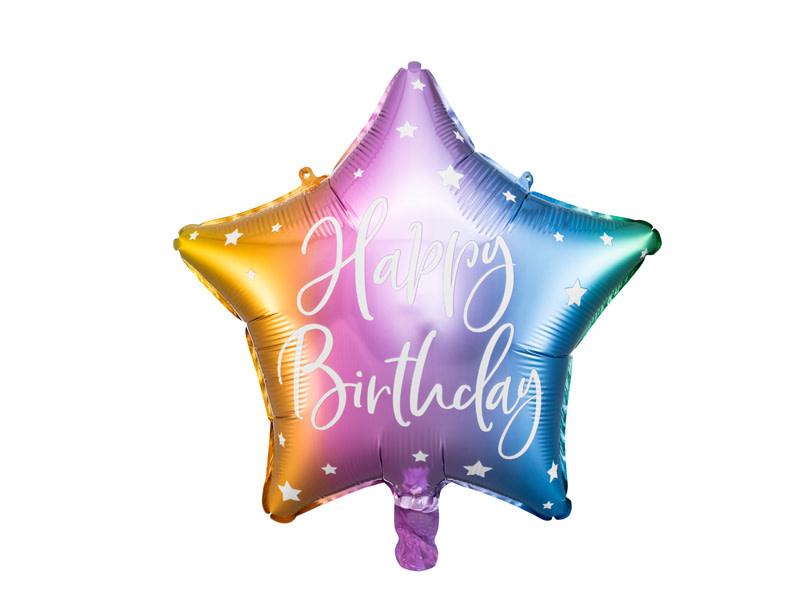 PD Foil balloon Happy Birthday, 40cm, mix