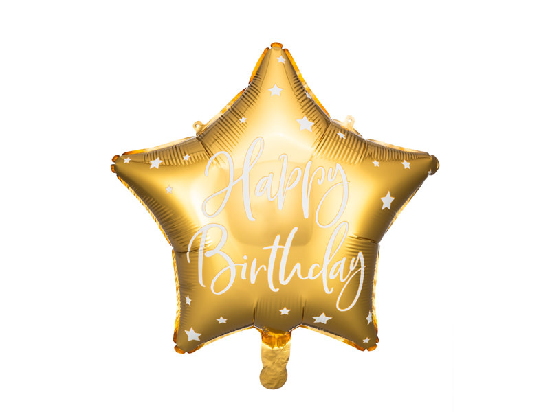 PD Foil balloon Happy Birthday, 40cm, gold
