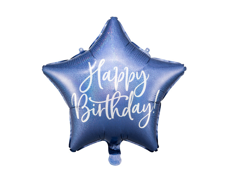 PD Foil balloon Happy Birthday, 40cm, navy blue