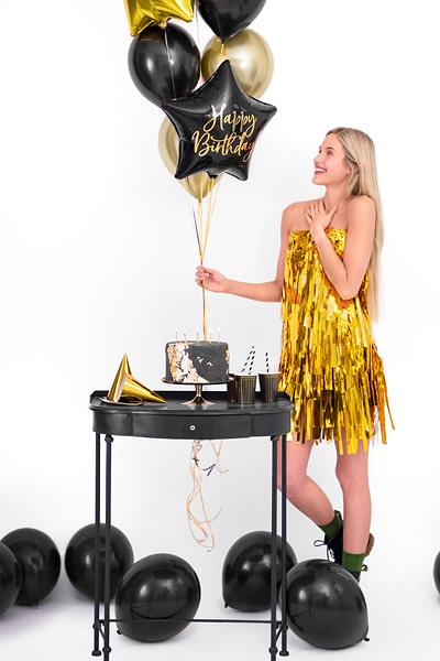 PD Foil balloon Happy Birthday, 40cm, black