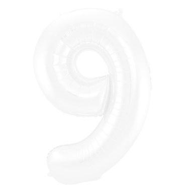 FT Foil Balloon Number 9 White Metallic Matt - 86 cm
