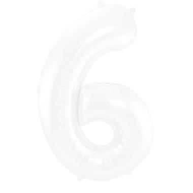FT Foil Balloon Number 6 White Metallic Matt - 86 cm