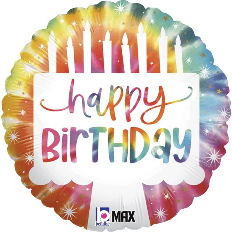 SMP circle foil balloon tie dye birthday cake 45 cm