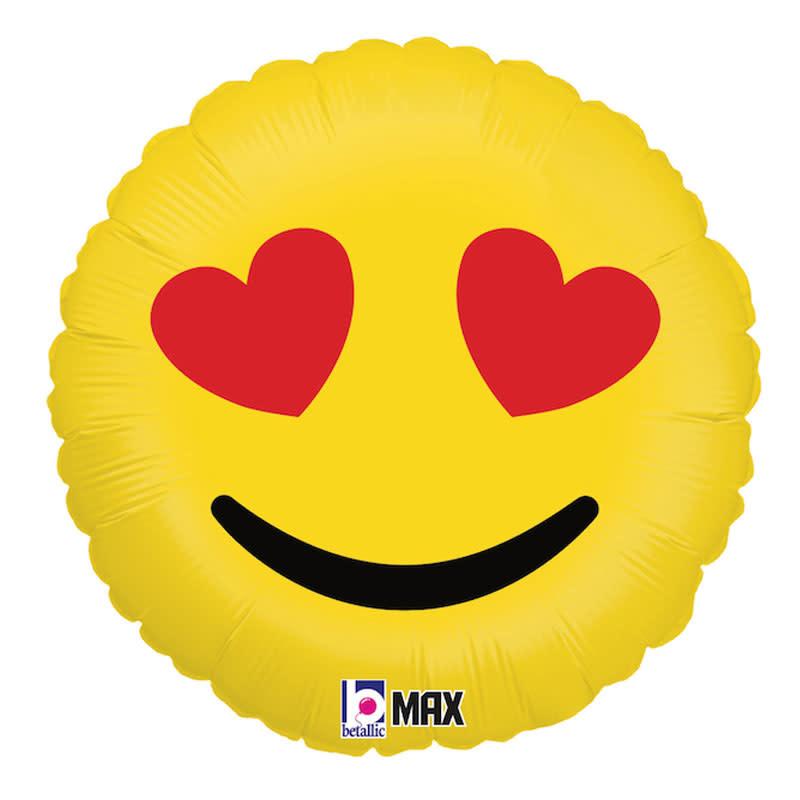 SMP emoji heart circle foil balloon 90 cm