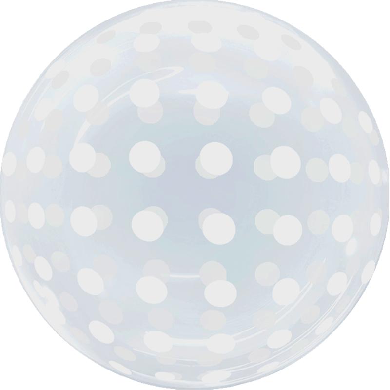 SMP Dots Bubble Balloon clear white 45 cm