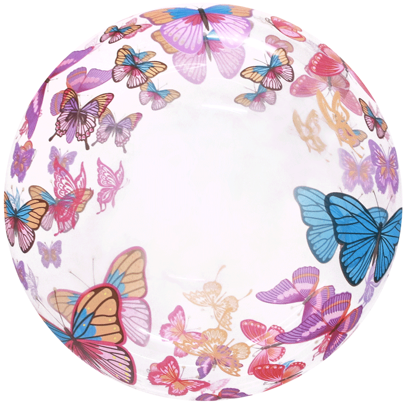 SMP clear printed butterflies bubble balloon 50 cm