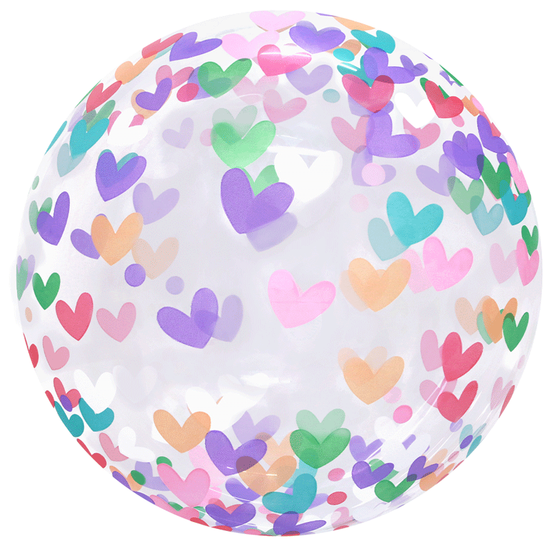 SMP clear printed colorful hearts bubble balloon 50 cm