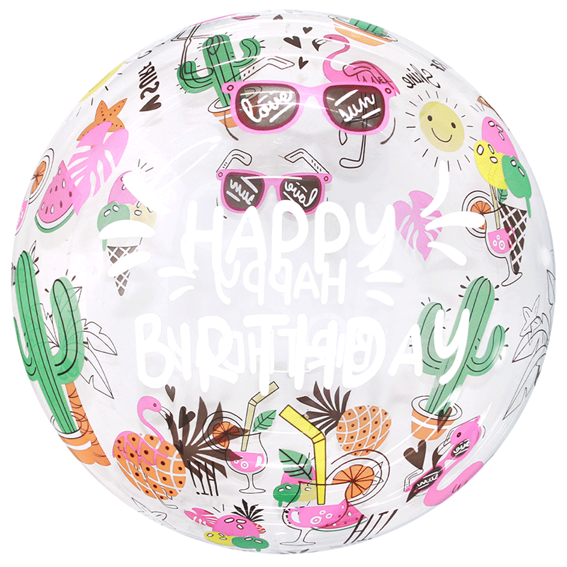 SMP clear printed summer vibes hbd bubble balloon 50 cm
