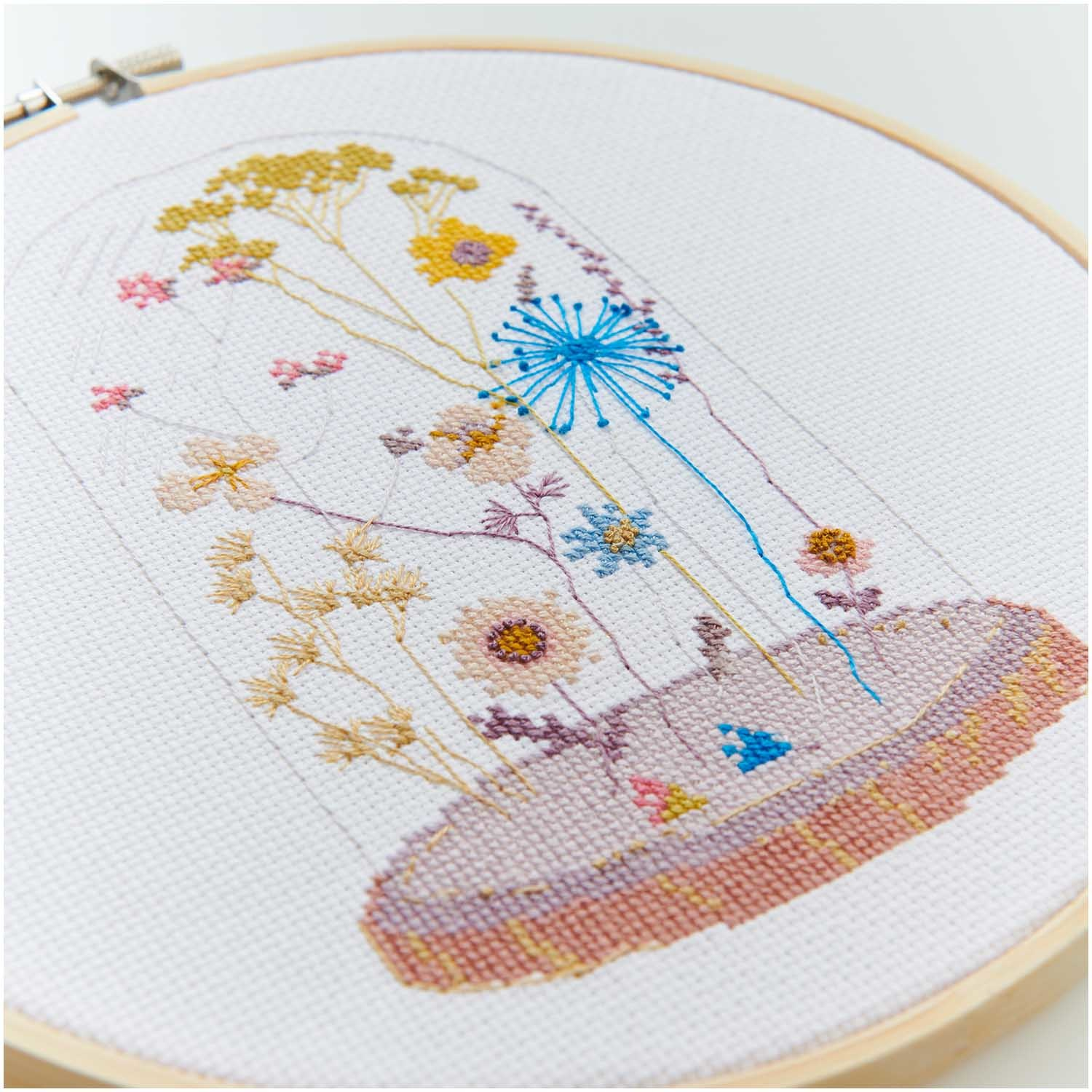 Rico NAY Embroidery kit transformation glass bell, picture Ø 20 cm, counted cross stitch