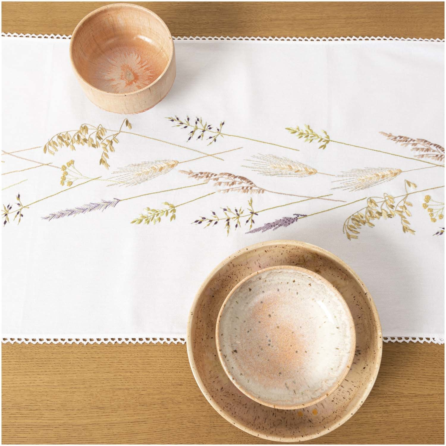 Rico NAY Embroidery kit runner grass wreath, 40x150cm, traced, 100% COTTON