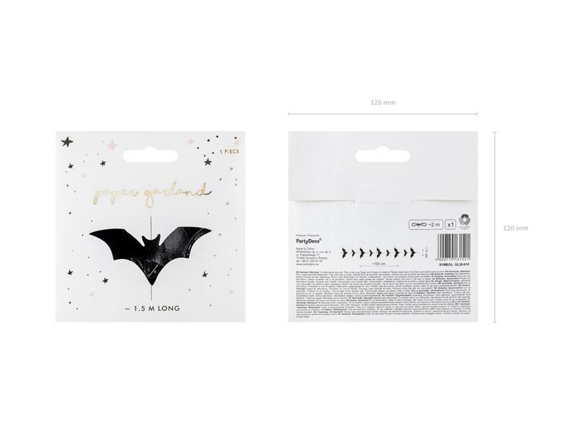 PD Garland Bats, black, 1.5m