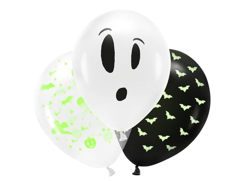 PD Blacklight balloons 27cm, BOO!, mix
