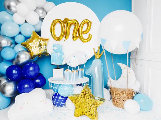 PD Foil Balloon Number ''1'', 37x100 cm, sky-blue