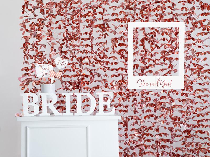 PD Backdrop - Flowers, rose gold, 100x210cm