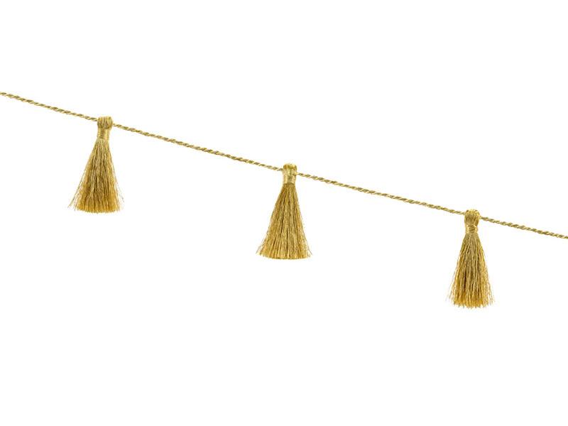 PD Fabric tassel garland, gold, 1.9m