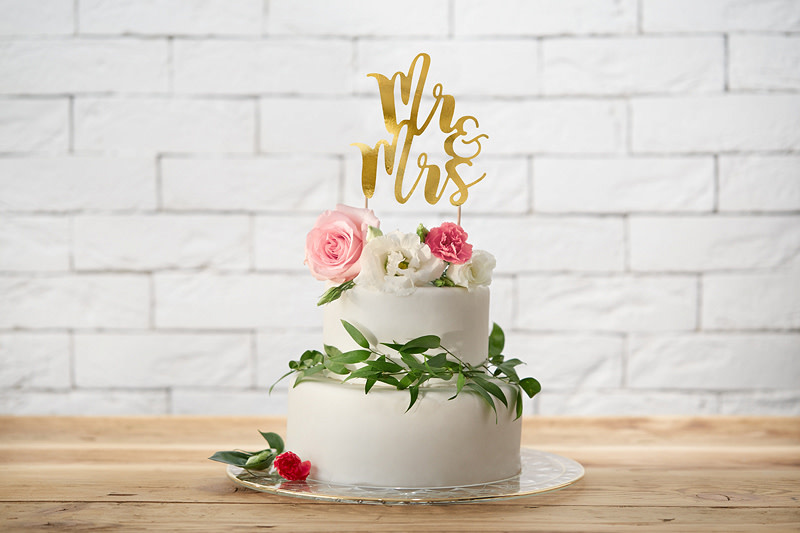 PD Cake topper Mr&Mrs, 25.5cm