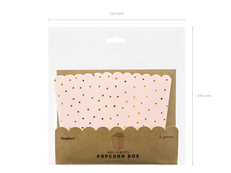 PD Boxes for popcorn Dots, light pink, 7x7x12.5cm