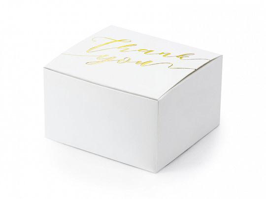 PD Boxes Thank you, white/ gold  6x3.5x5.5cm