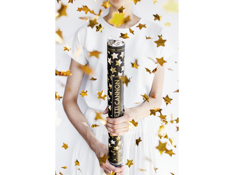 PD Confetti cannon with stars, gold, 80cm