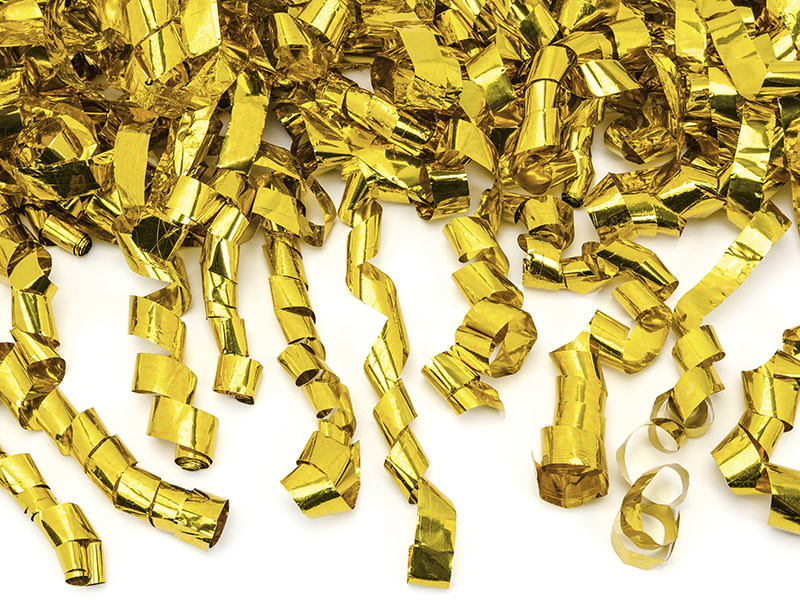 PD Confetti cannon with streamers, gold, 80cm