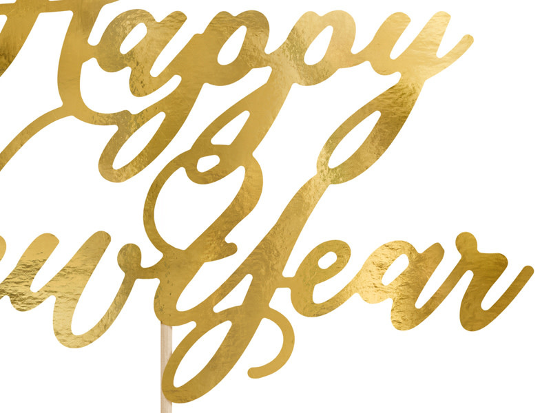 PD Cake topper Happy New Year, gold, 24cm