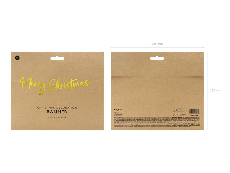 PD Banner Merry Christmas, gold, 83x21.5cm