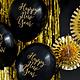 PD Balloons 30cm, Happy New Year, Pastel Black