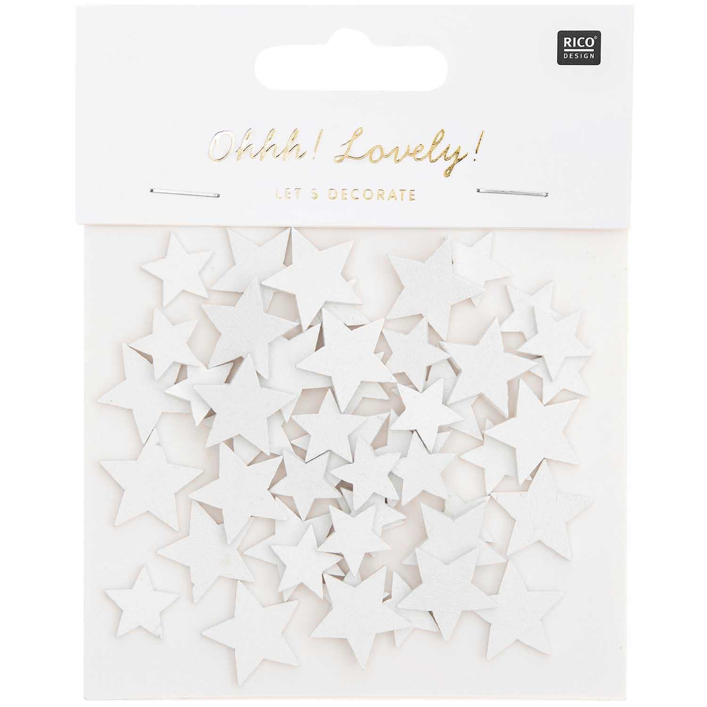 RICO Deco confetti star mix, white, wood, 48 pcs, 15x14 mm - 20x19 mm