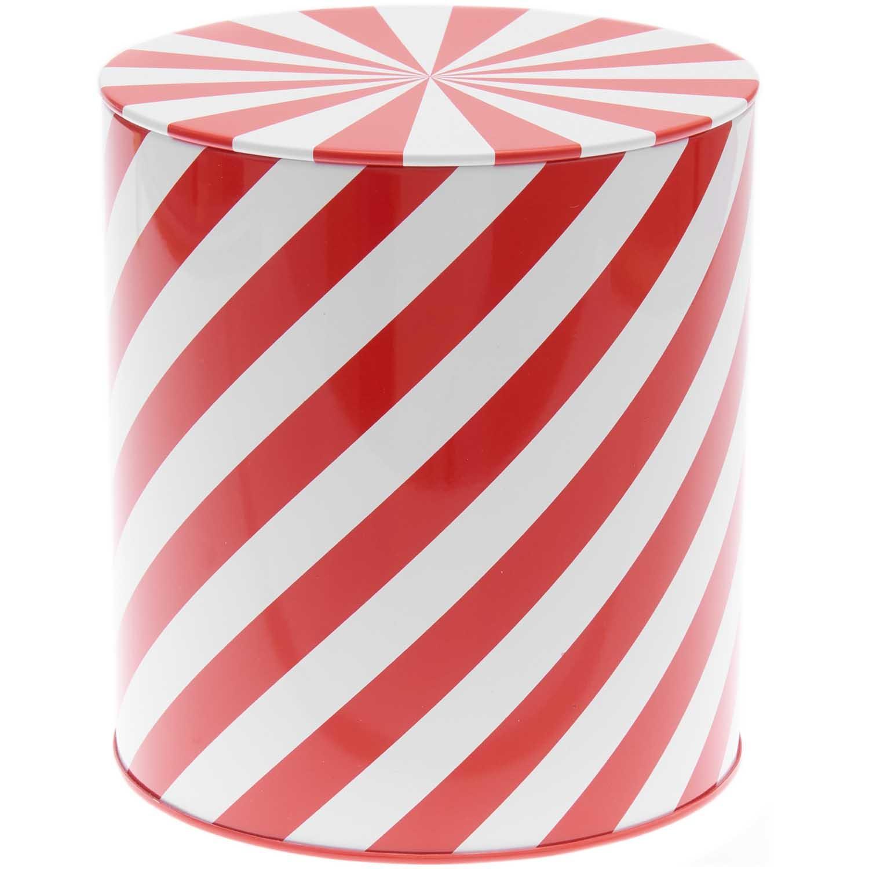 Rico NAY Cookie jar stripes, red-white, 1 pc, Ø 136 x 151 mm