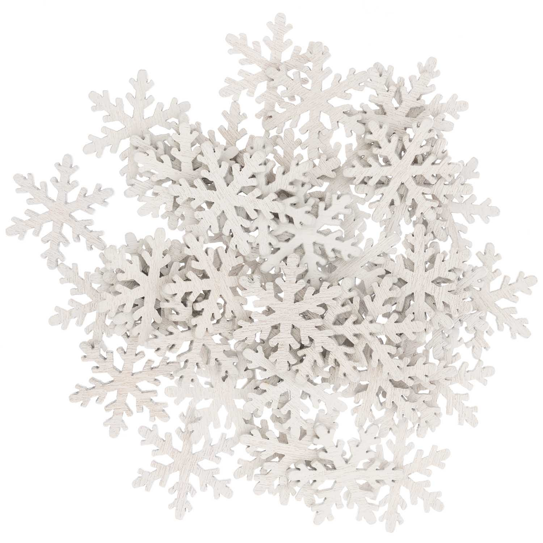Rico NAY Deco confetti snowflake, white, wood, 48 pcs, 20x23 mm