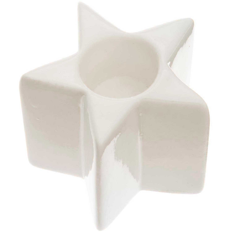 Rico NAY Candle holder star, porcelain, white, 6,2*4,9cm