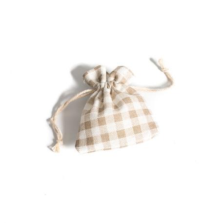 AF cotton gift bags vichy ecru 7 x 9 cm, 5 pcs