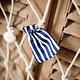 AF cotton gift bags blue stripe 7 x 9 cm, 5 pcs